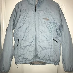 The North Face puffer jacket blue medium womens